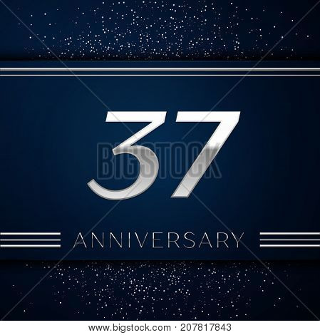 Realistic Thirty seven Years Anniversary Celebration Logotype. Silver numbers and silver confetti on blue background. Colorful Vector template elements for your birthday party