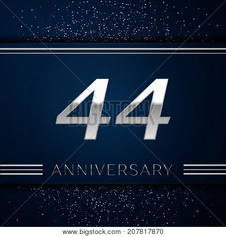 Realistic Forty four Years Anniversary Celebration Logotype. Silver numbers and silver confetti on blue background. Colorful Vector template elements for your birthday party