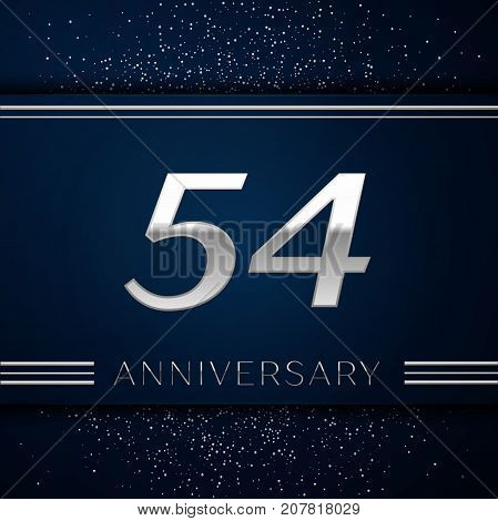 Realistic Fifty four Years Anniversary Celebration Logotype. Silver numbers and silver confetti on blue background. Colorful Vector template elements for your birthday party