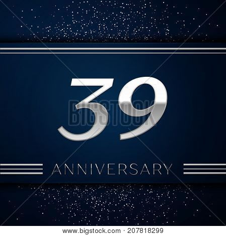 Realistic Thirty nine Years Anniversary Celebration Logotype. Silver numbers and silver confetti on blue background. Colorful Vector template elements for your birthday party