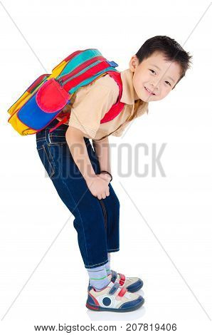 Cheerful asian primary school student carried schoolbag