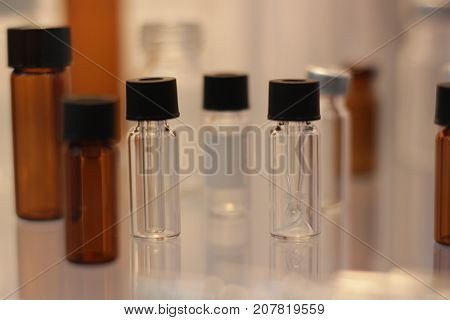 the Glasswares in laboratory ; selective focus