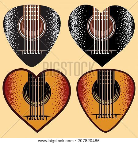 Vector set of stylish colored plectrums for guitar.