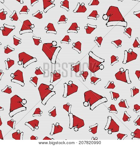 Red Santa Hats. Seamless Pattern.