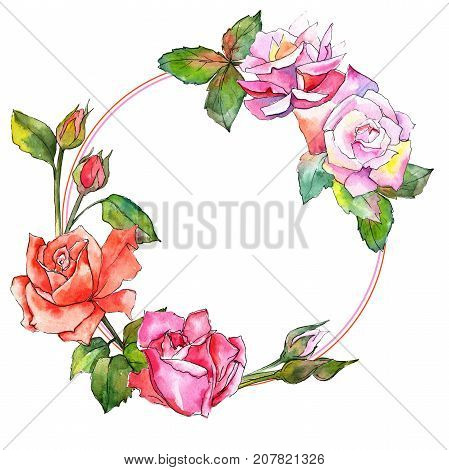 Wildflower rose flower wreath in a watercolor style. Full name of the plant: rose. Aquarelle wild flower for background, texture, wrapper pattern, frame or border.