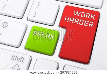 Macro Of A Keyboard With The Work Harder And Break Buttons