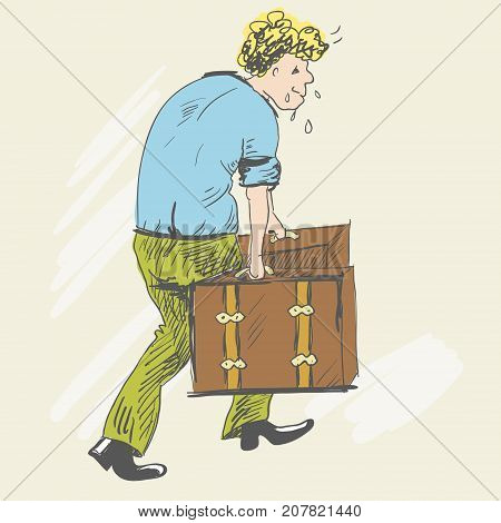 Tired man climbs uphill. The blond man carries heavy suitcases, sweating. He has a stooped posture. The boy is dressed in a blue shirt and green pants. Sketch style. Vector illustration