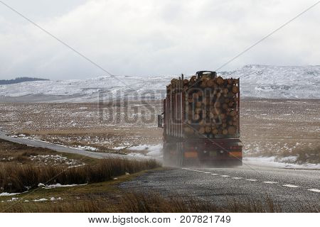 Semi-truck on icy roads transporting cut logs in Wales
