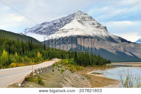 Highway Through The Canadian Rockies Along The Icefields Parkway Between Banff And Jasper