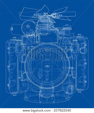 Engine sketch. Vector rendering of 3d. Wire-frame style