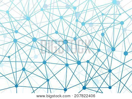 Modern futuristic connection concept hi-tech wireframe background. Connection blue dots connected by lines network grid layout. Vector illustration