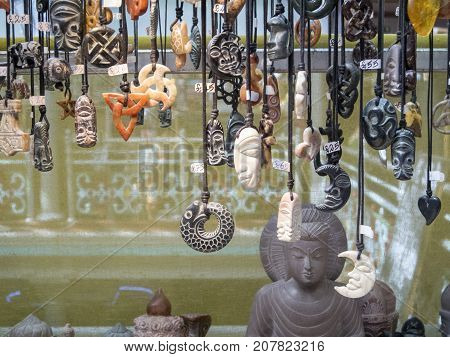 London, UK: July 26, 2016: An ethnic jewelry stall in Camden Lock Market. Camden Town district of Inner London is one of the most popular places with tourists to the city.