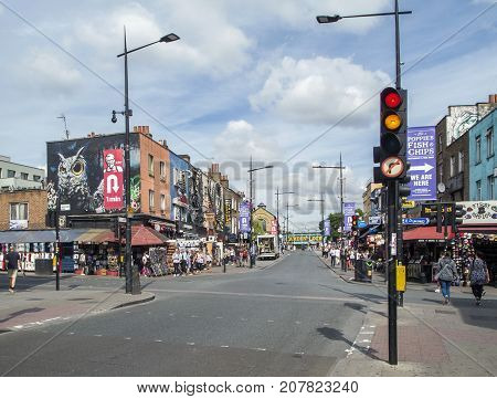 London, UK: July 26, 2017: The busy colorful main street in Camden Town is an iconic and must see place for tourists to London.