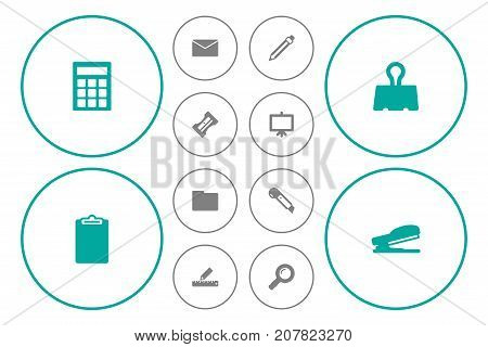 Collection Of Knife, Zoom Glasses, Mail And Other Elements.  Set Of 12 Stationery Icons Set.