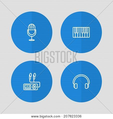 Collection Of Turntable, Headphones, Fortepiano And Other Elements.  Set Of 4 Melody Outline Icons Set.