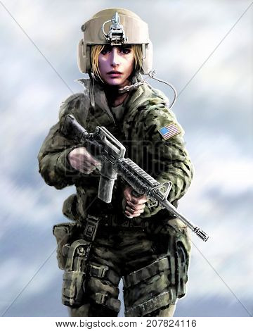 Girl warrior in a helmet and with assault rifle in their hands. Drawing illustration in the genre of fiction. Zombie apocalypse.