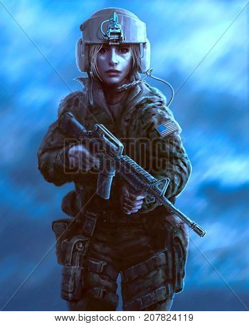 Female character in military uniform and helmet pilot with weapon. Drawing illustration in the genre of battle on blue background. Zombie apocalypse.