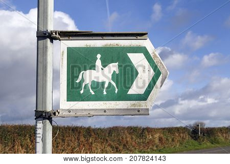 Bridle way sign on a country road