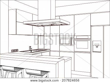 3D vector sketch. Modern kitchen design in home interior. Kitchen sketch. There is also a kitchen peninsula in the room. Kitchen and living room combined.