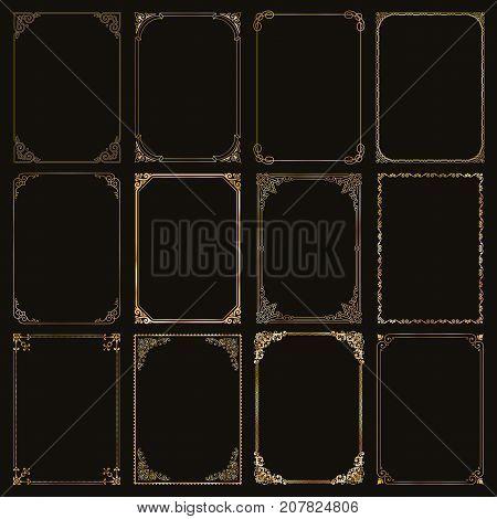 Decorative gold frames and borders standard rectangle proportions backgrounds vintage design elements set