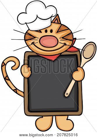 Scalable vectorial image representing a cat chef cook holding a blackboard and wooden spoon, isolated on white.