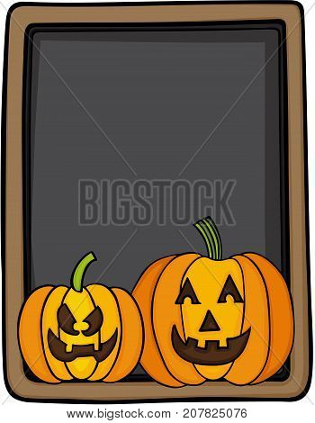 Scalable vectorial image representing a halloween pumpkins on blackboard, isolated on white.