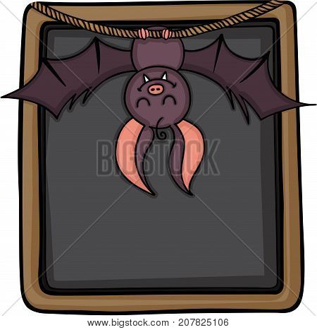 Scalable vectorial image representing a happy bat hanging on blackboar, isolated on white.