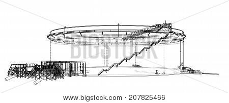 Oil storage tank. Vector rendering of 3d. Wire-frame style. The layers of visible and invisible lines are separated