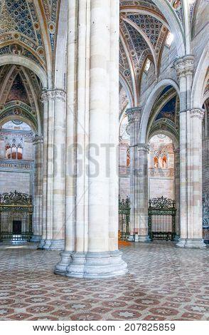 Pavia Italy - April 22 2011: The Charterhouse the main nave of the church