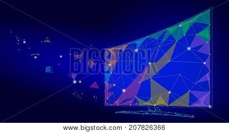 Low poly smart tv screen video. Polygonal virtual reality desktop future technology display connected point line dots art. Innovation PC vector illustration art