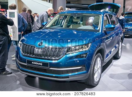 Frankfurt-September 20: Skoda Kodiaq at the Frankfurt International Motor Show on September 20 2017 in Frankfurt