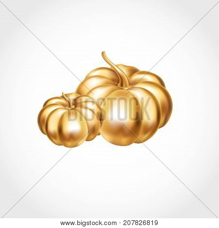 Gold Halloween Pumpkins decoration. Happy Halloween two pumpkin. Golden Pumpkins party decoration. Golden pumpkin party design, event . Gold elements celebration, event, congratulations, Home decor