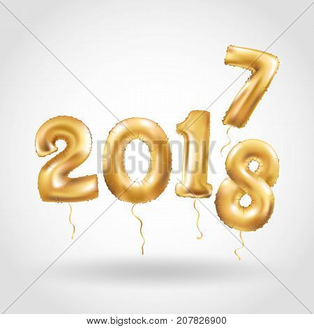 Happy New Year 2018 2017 year after year. Metallic Gold Balloons. Golden Letter Balloon, 2018 Happy new year, Gold Number, event, Balloons. Christmas celebration, decoration, golden sparkles.