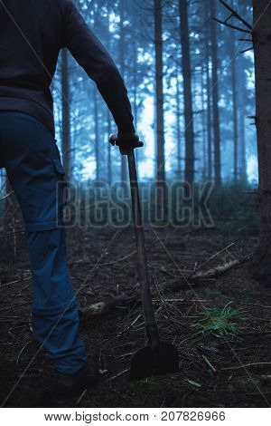 Hand Of Man On Handle Of Spade In Misty Pine Forest.