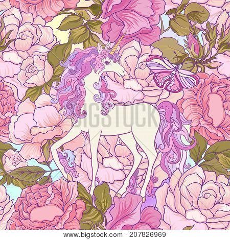Unicorn with multicolored mane, butterfly rainbow, star and love heart. Seamless pattern. in purple and pink colors. On a colorful background. Stock vector.