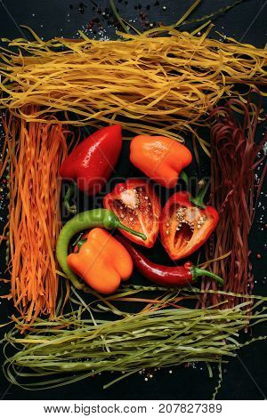 food organic vegetable pasta italian gluten-free pepper background concept