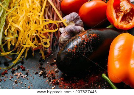 food organic vegetable tomato garlic pepper eggplant pasta concept