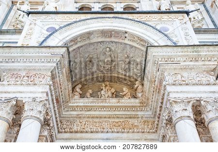 Pavia, Italy - April 22, 2011: The Charterhouse, detail of the church front