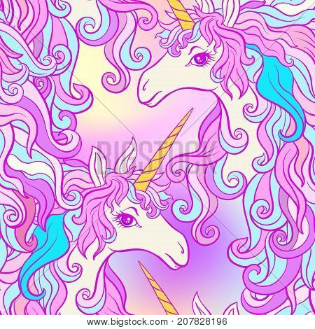 Unicorn with multicolored mane, butterfly rainbow, star and love heart. Seamless pattern in pink, purple colors. On a colorful background. Stock vector.