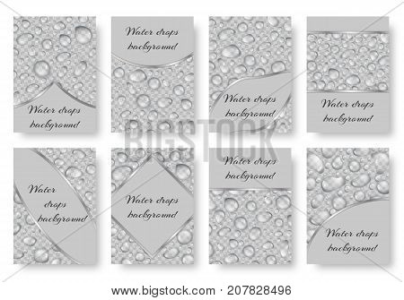A set of greeting cards with drops of water on a transparent backdrop. Vector background with raindrops.