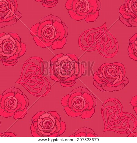Seamless pattern with red roses and love heart on red background. Stock vector.