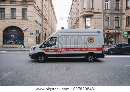 St. Petersburg, Russia, 29 june 2017: ambulance on the streets of St. Petersburg