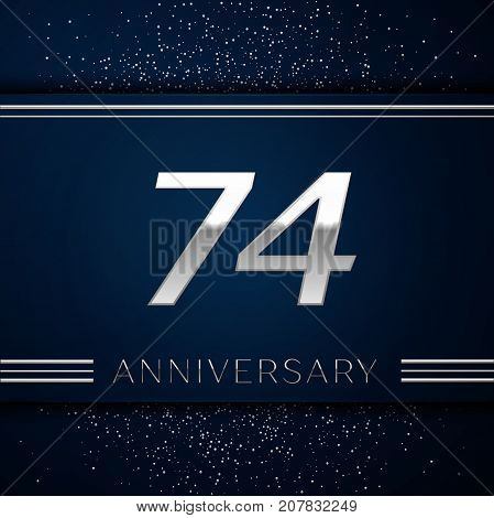 Realistic Seventy four Years Anniversary Celebration Logotype. Silver numbers and silver confetti on blue background. Colorful Vector template elements for your birthday party