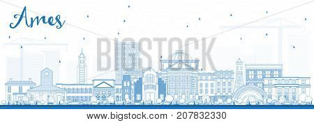 Outline Ames Iowa Skyline with Blue Buildings. Business Travel and Tourism Illustration with Historic Architecture.
