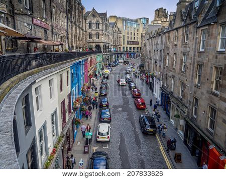 EDINBURGH, SCOTLAND - JULY 28: Looking up Victoria Street towards the Royal Mile on July 28, 2017 in Edinburgh Scotland. The Royal Mile is a popular attraction in Edinburgh and hosts many tourists.
