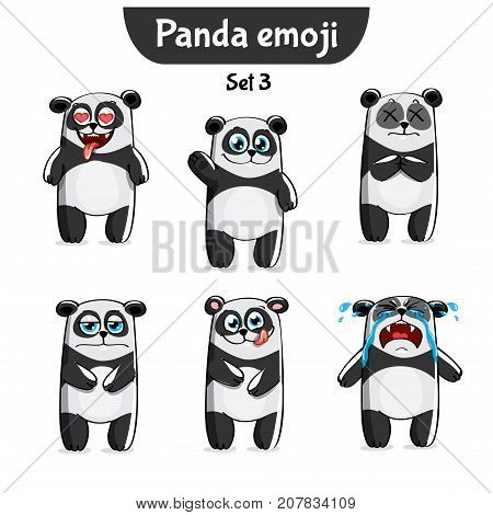 Set kit collection sticker emoji emoticon emotion vector isolated illustration happy character sweet, cute panda
