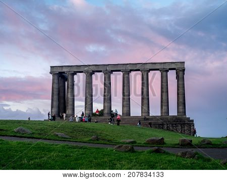 EDINBURGH, SCOTLAND - JULY 26: The National Monument on July 26, 2017 in Edinburgh, Scotland. The partially completed National Monument is located on top of Calton Hill.