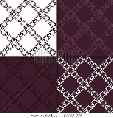 Set of floral ornaments. Maroon seamless patterns for wallpapers and fabric. Vector illustration