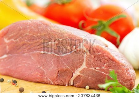Raw Meat With Vegetables And Spices