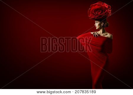 Beauty Fashion Model and Rose Flower Hairstyle Elegant Art Woman Red Dress Roses Crown on Head